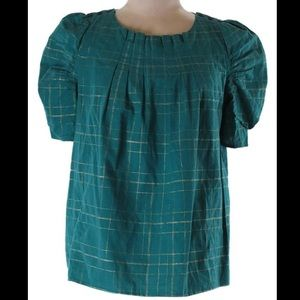 🍀MARC JACOBS Plaid Puff Sleeve Boxy Fit Top